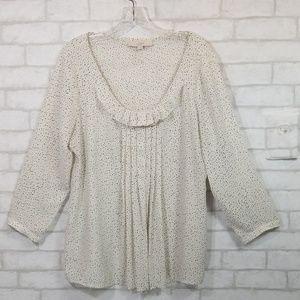 Loft polka dot  pleated blouse size Large